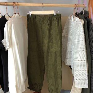 Anthropologie jacquard cargo pants